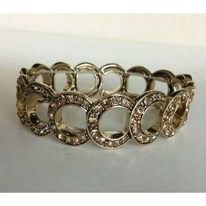Monet Stretch Bracelet Pave Gold Tone 7 Inch